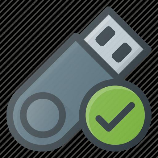 check, disk, drive, flash, storage, usb icon