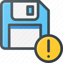 alert, disk, drive, floppy, save, storage icon