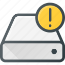 alert, disk, drive, hard, storage icon