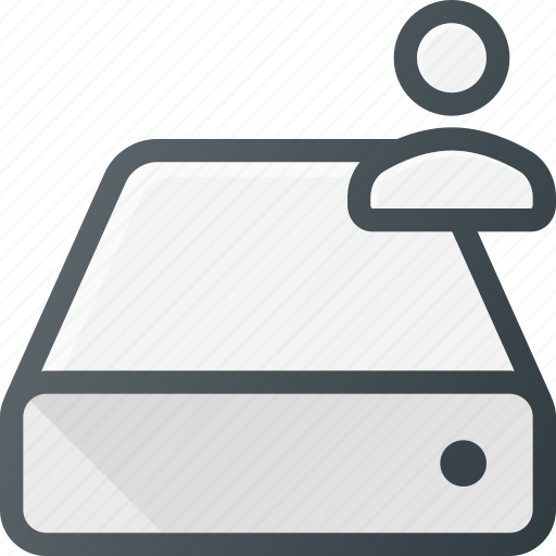 Hard, disk, storage, drive, user icon