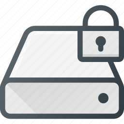 disk, drive, hard, lock, storage icon