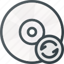 compact, disk, drive, reload, storage icon