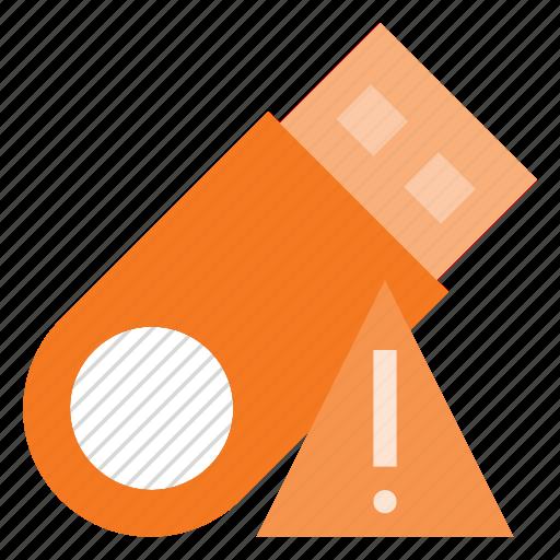 alert, disk, drive, flash, storage, usb icon