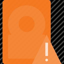alert, disk, drive, hard, storage icon