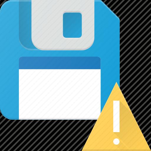 alert, disk, drive, floppy, save, storage icon