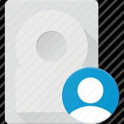 disk, drive, hard, storage, user icon