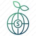 money, global, ecology, growth, strategy icon