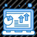 analysis, chart, grow, laptop, profit