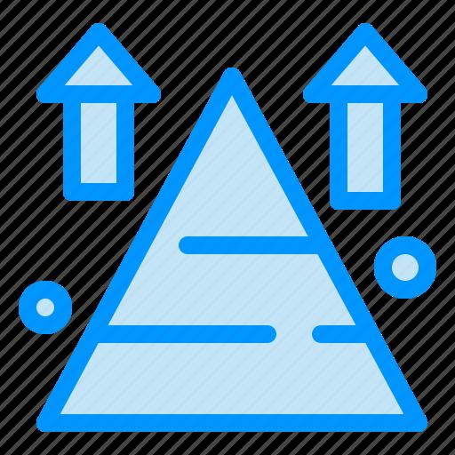 arrow, land, mountain, sucess, top icon