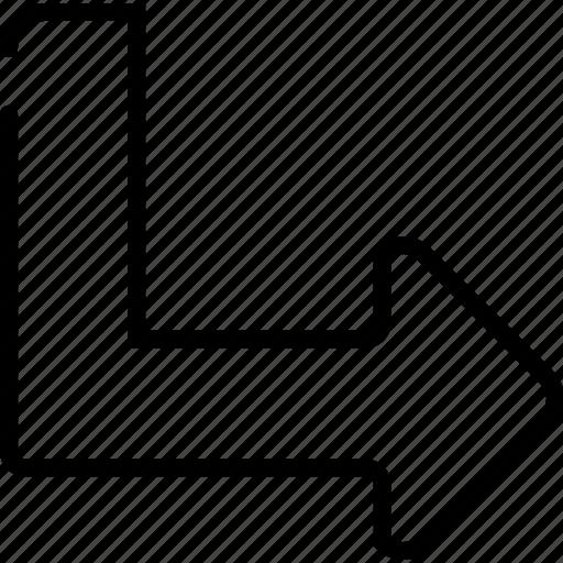 arrow, bottom, next, right, turn icon
