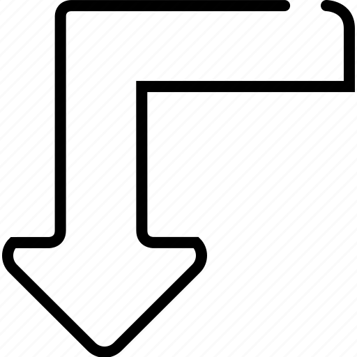 arrow, bottom, down, right, turn icon