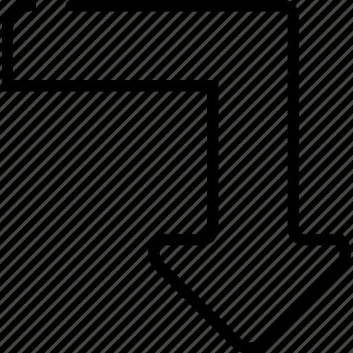 arrow, bottom, down, right icon