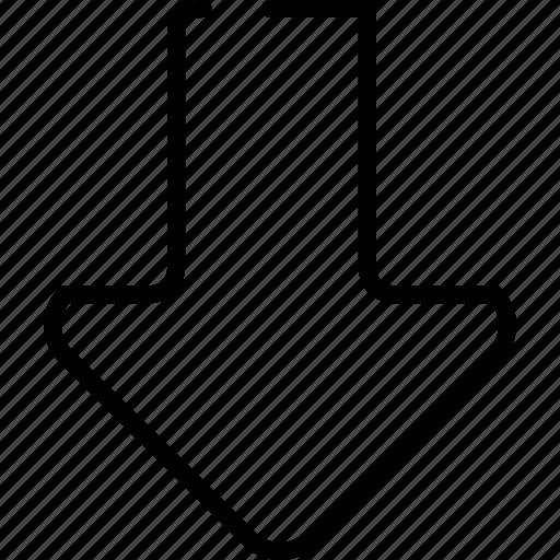 arrow, bottom, down, download, load, under icon