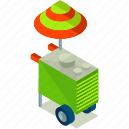 cart, elements, food, road, street icon