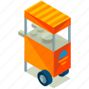 cart, cream, elements, food, ice, street icon