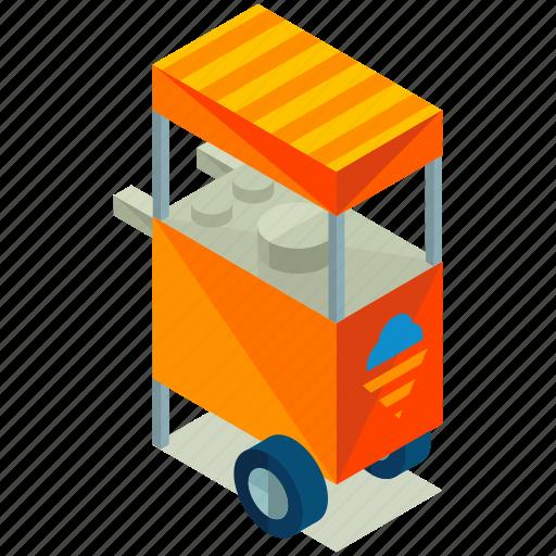 cart, cream, elements, food, ice, street icon