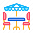 truck, burger, caf, table, umbrella, chairs, drink icon