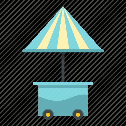 fast, food, shop, snack, street, umbrella, wheel icon