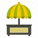 business, fast, food, shop, snack, street, umbrella icon