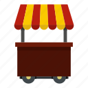 food, roof, shop, snack, street, striped, wheel icon