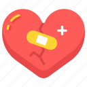 aid, broken, care, heal, healing, heart, love icon