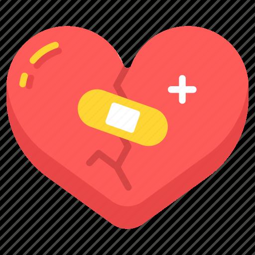 aid, broken, care, heal, healing, heart, love icon