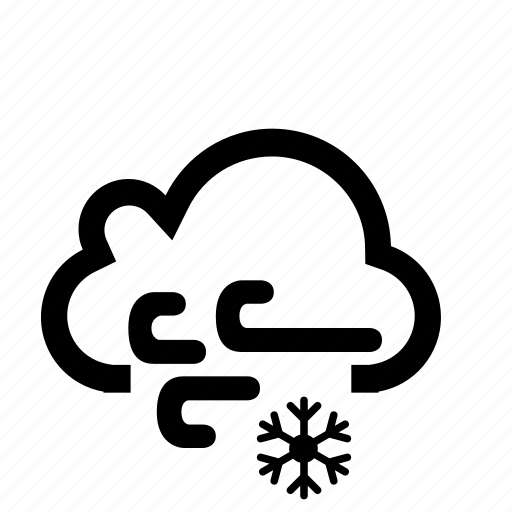 cloud, snow, snowing, weather, wind, windy icon