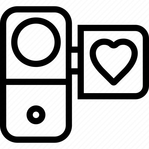 camera, favorite, heart, love, video icon