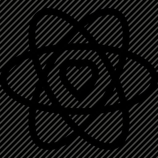 atom, heart, love, romantic, valentine icon