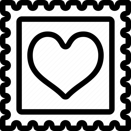 heart, love, postage, romantic, valentine, valentine's icon