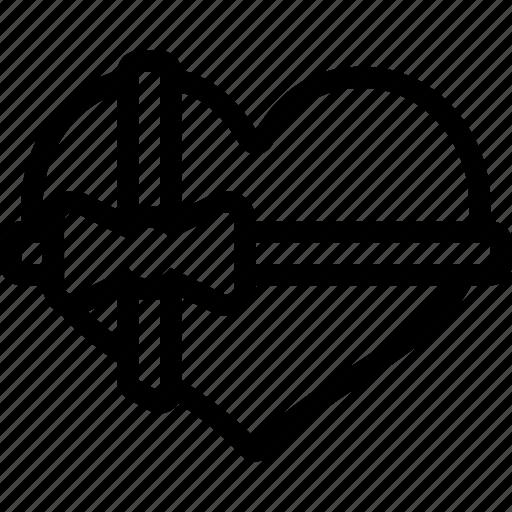 box, gift, heart, love, romantic, valentine icon