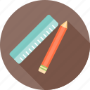 design, drawing, learning, pen, pencil, ruler, study icon