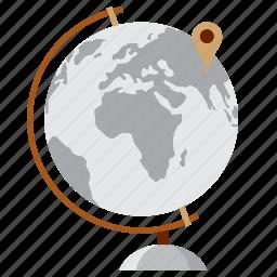 ball, education, globe, map, pin, study, world icon
