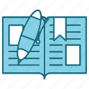 book, education, open, pen, study icon