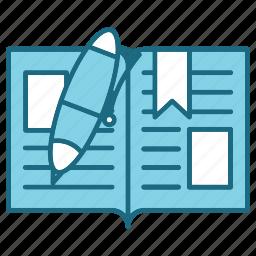 book, education, open, pen, study icon