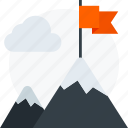 achievement, flag, goal, mount, mountain, peak, win icon icon