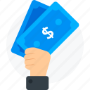 dollar, give money, hand, pay icon icon