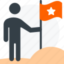 business, businessman, flag, goal, success, user icon icon