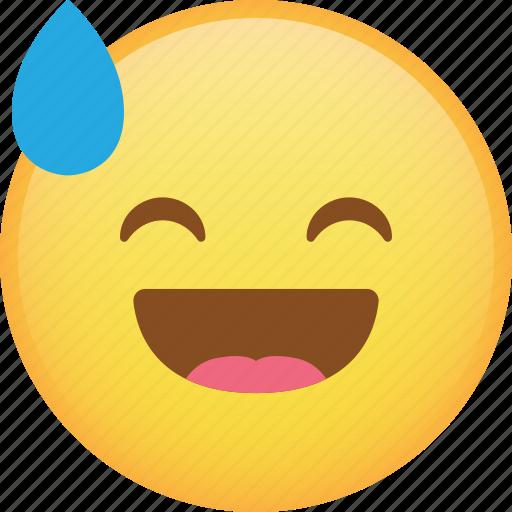 drop, emoji, emoticon, happy, laugh, smiley icon