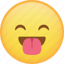 emoji, emoticon, happy, laugh, smiley, tongue icon