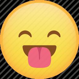emoji, emoticon, happy, laugh, smiley, tongue icon