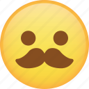 emoji, emoticon, mustache, smile, smiley icon