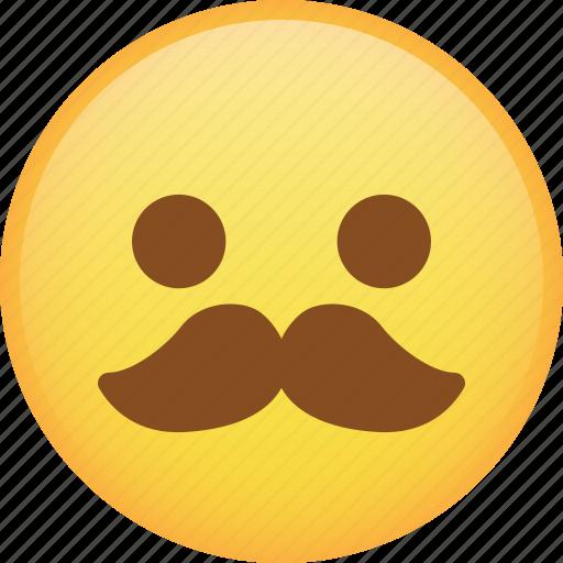 emoji, emoticon, mustache, smile, smiley icon
