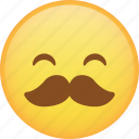 emoji, emoticon, happy, mustache, smile, smiley icon