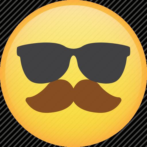 emoji, emoticon, glasses, mustache, smiley, sunglasses icon