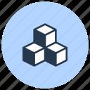 cubes, sugar, white icon