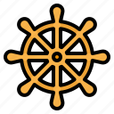 boat, rudder, sailing, ship, steering, wheel icon