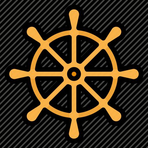boat, rudder, sailing, ship, steering, wheel icon
