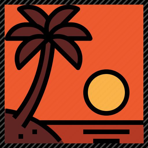 sea, summer, sunset, travel icon