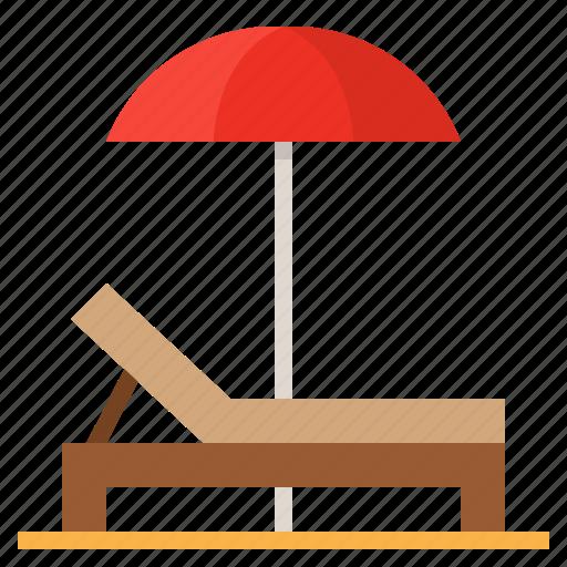 beach, bench, summer, umbrella icon